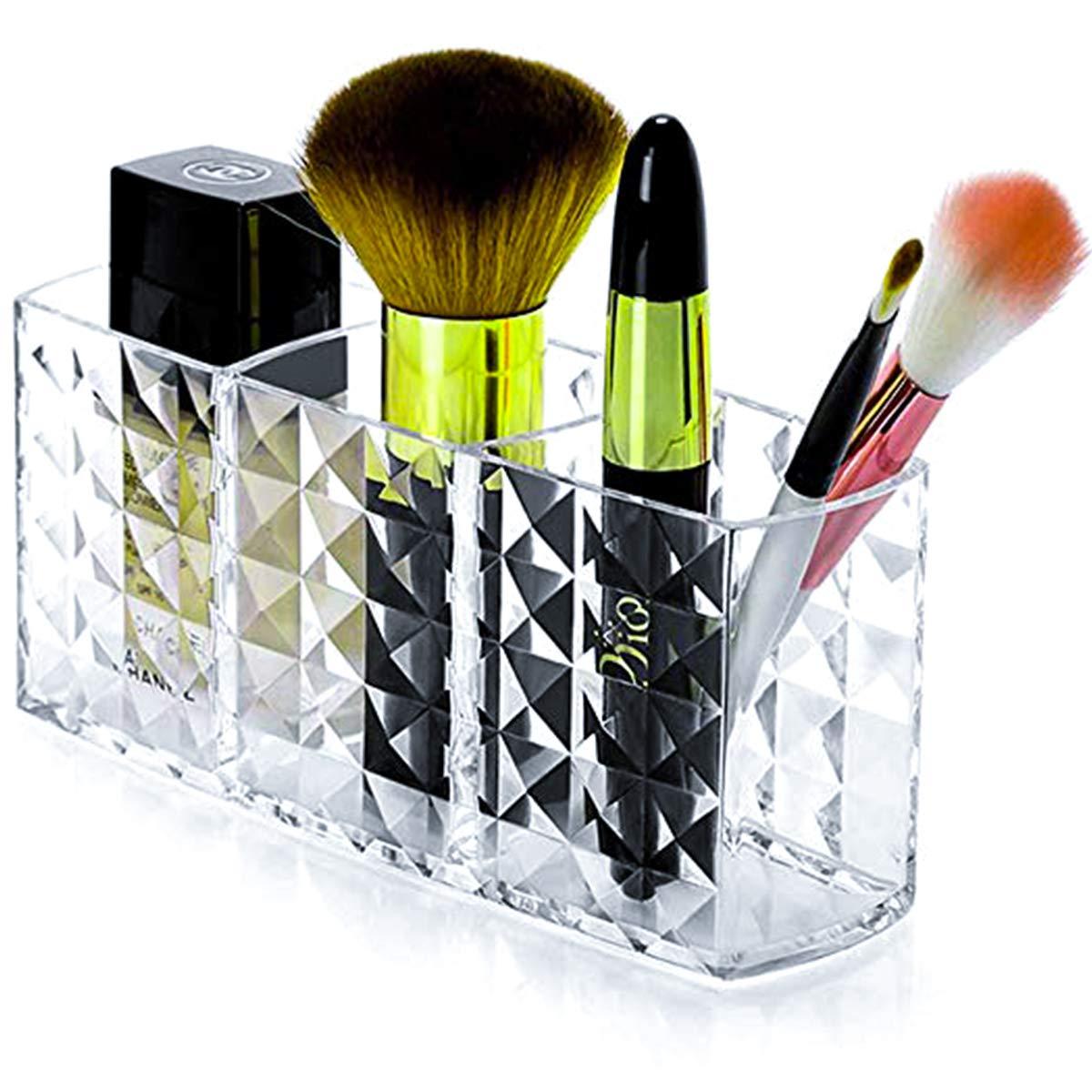 Tasybox Makeup Brush Holder Organizer, 3 Slot Acrylic Cosmetic Brushes Storage, Eyeliners Eyebrow Pencil Clear Diamond Shaped Display Case