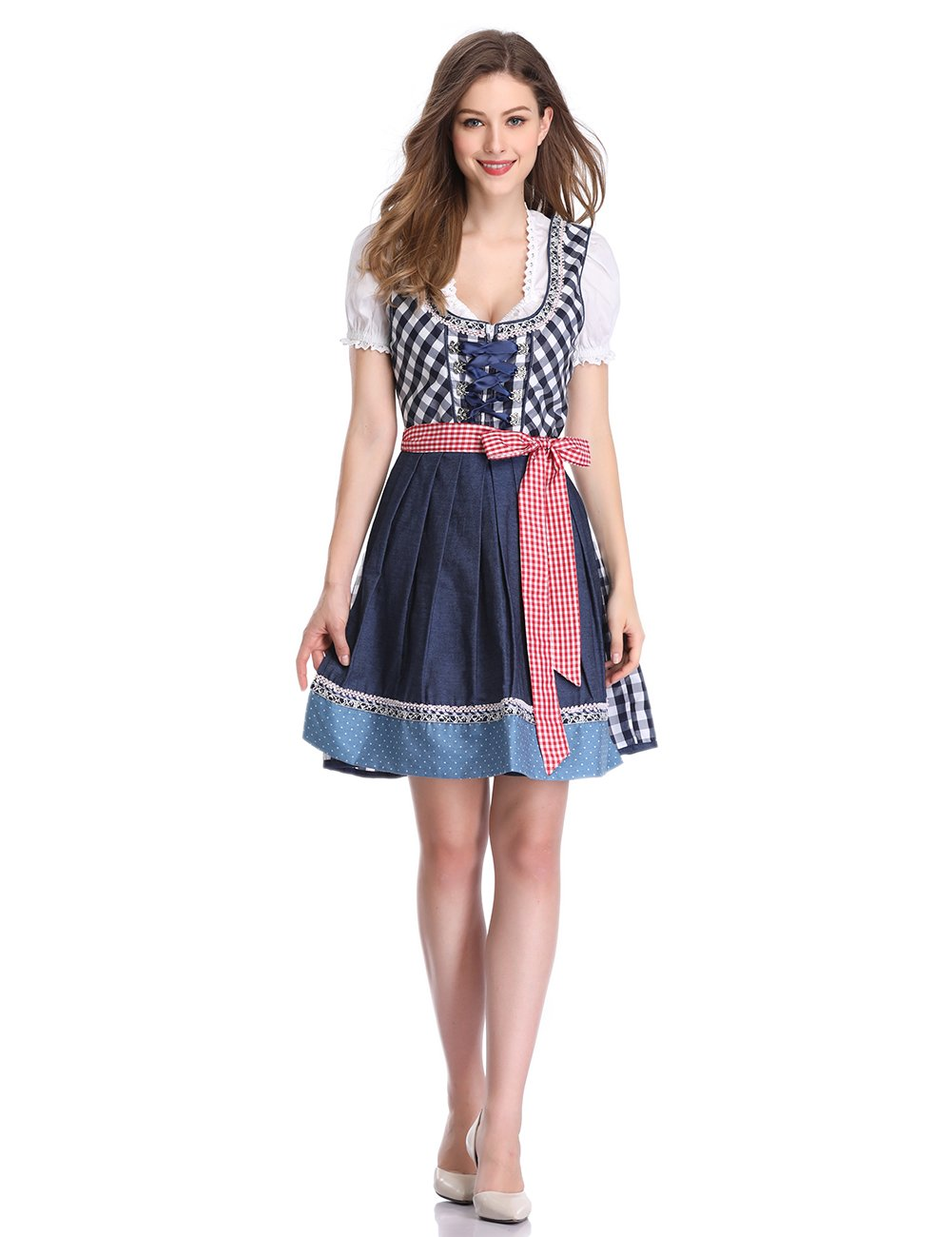 GloryStar KoJooin Women 3 Pieces Bavarian Oktoberfest Costumes Barmaid Dirndl Dress Blue Plaid 36