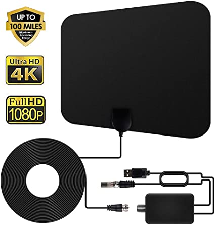 Indoor TV Antenna Digital HDTV Aerial Amplified 100 Mile Range VHF UHF Freeview