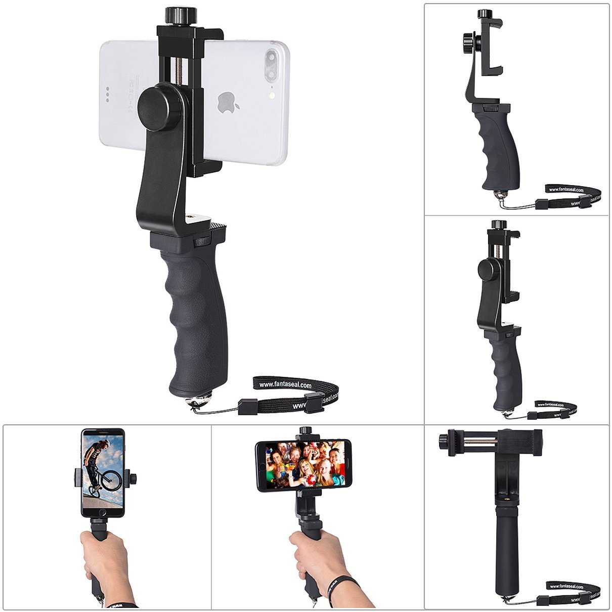 Cell Phone Stabilizer Hand Grip Holder Smartphone Handle Phone Holder Support Selfie Stick Compatible for iPhone X 8+ 8 7+ 7 6S+ 6S 6+ 6 5 5SE 4 Galaxy Note 8 S8 etc Landscape + Portrait Mode