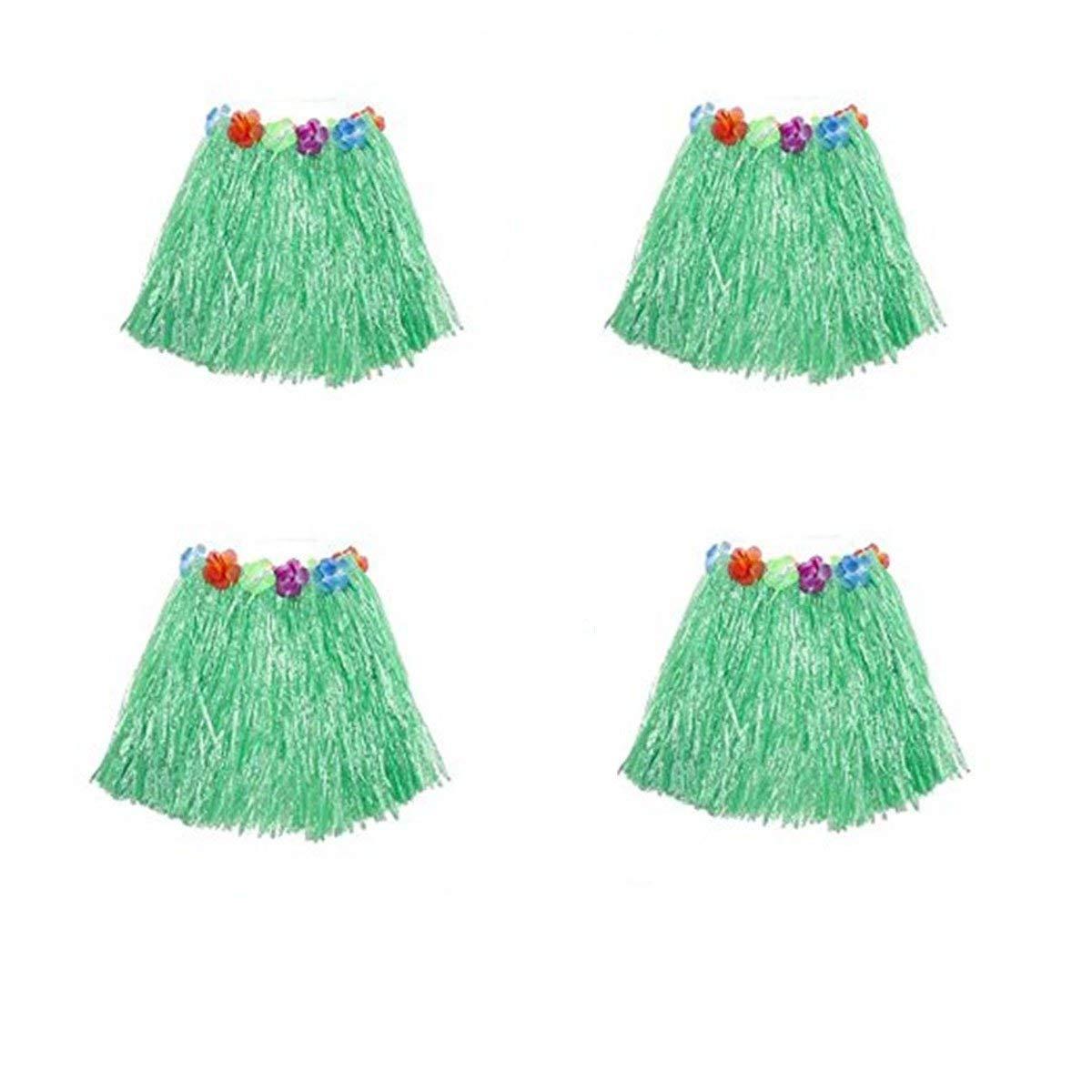 Yansanido Pack of 4 Graduation Dancing Hula Set Grass Skirt Children Costume Suit Elastic Hawaiian Hula Dancer Grass Skirt/30cm (Green 4pcs)