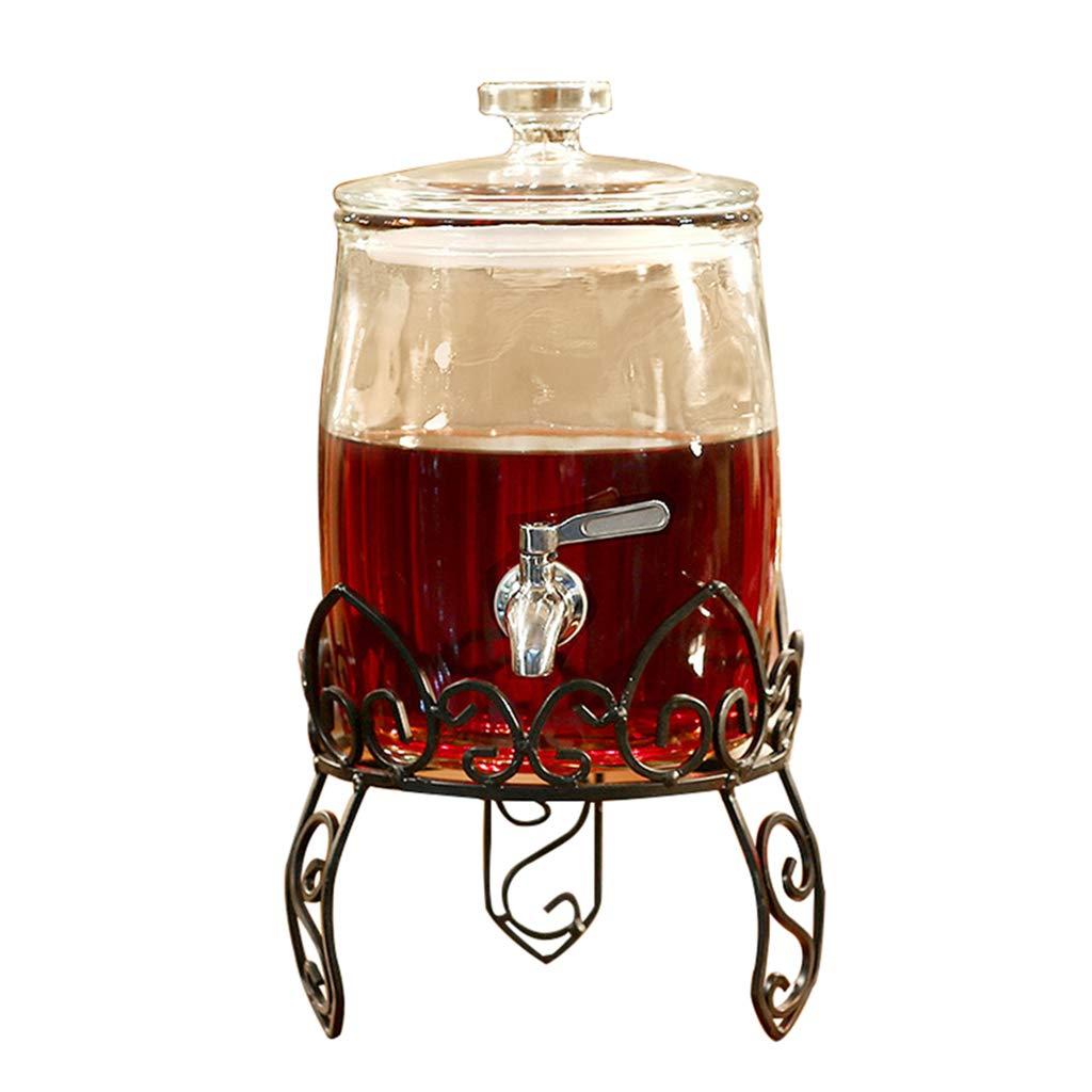 多機能飲料ディスペンサー、ステンレス鋼製蛇口飲料機付き - 厚手のガラス密閉缶 - 彫刻が施されたスチールシート付き B07T1ZW2HJ  9L