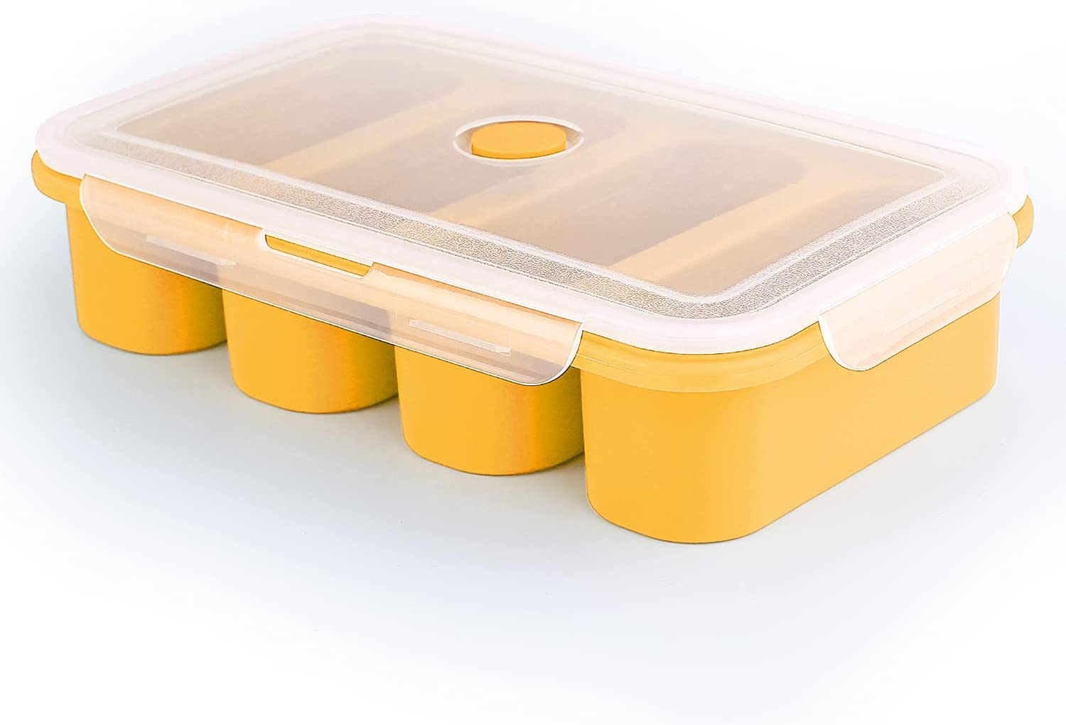 Silicone Freezer Trays Extra Large Soup Super Cube Ice Cube Tray Food Freezing Molds 4 Giant Storage for Food Meal Sauce with Lid (4 cubes, Yellow)
