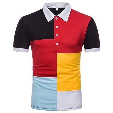 VPASS Camiseta para Hombre, Verano Polo Patchwork Camiseta Deporte ...