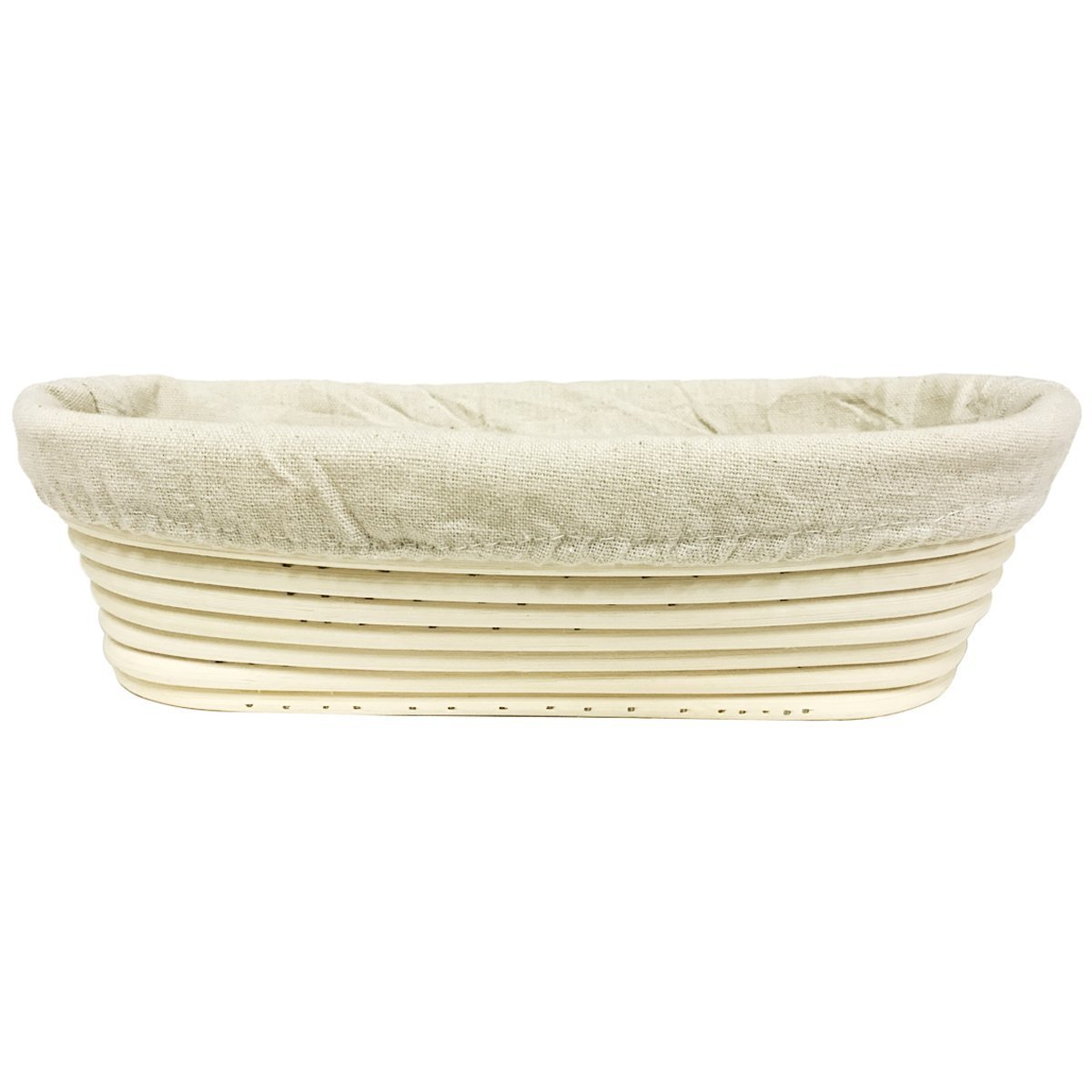 Agile-shop Oval Long Banneton Brotform Bread Dough Proofing Rising Rattan Handmade Basket & Liner (8.2) SYNCHKG107152