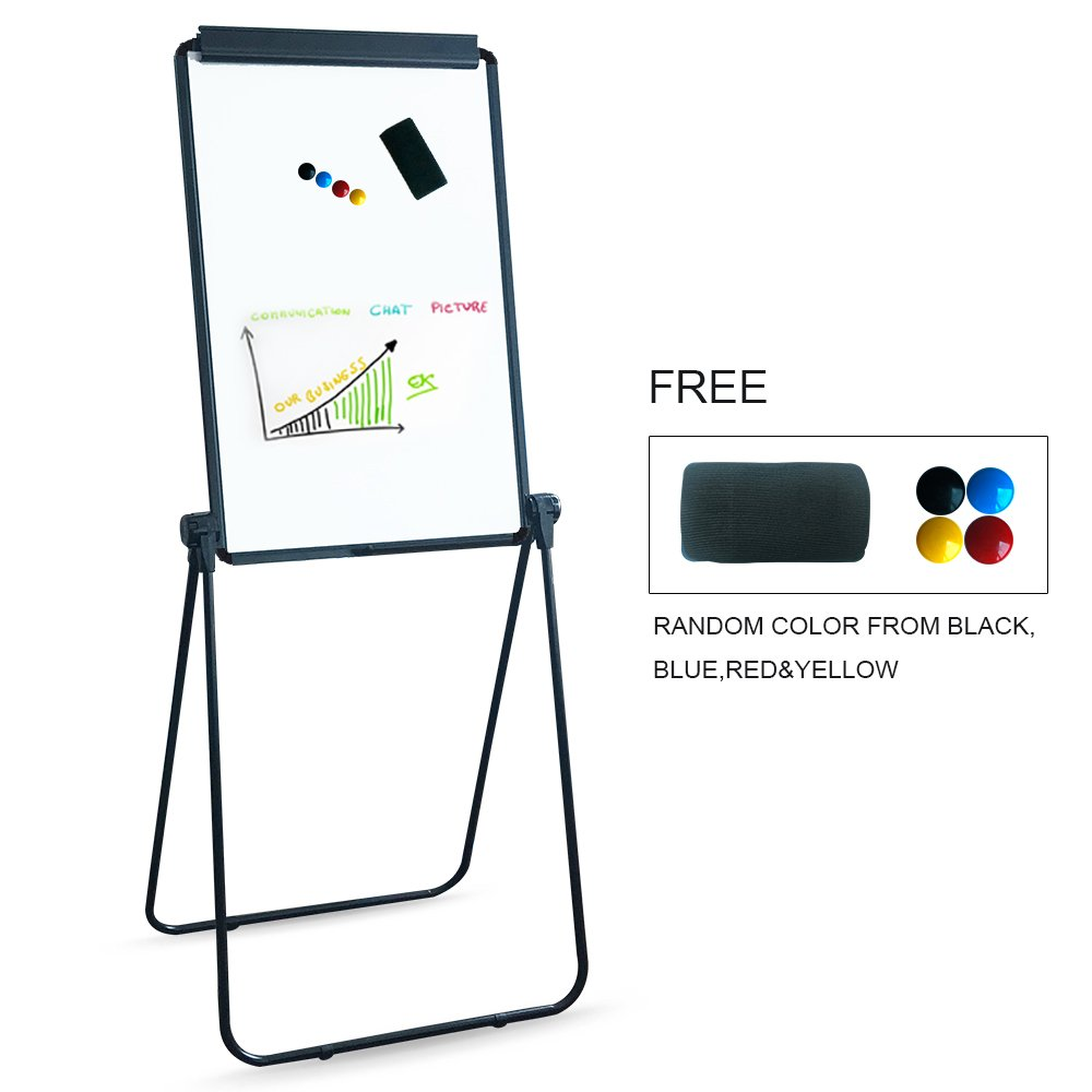 XIWODE MagneticEasel-style Dry Erase Board, Flip Chart Black U-StandWhiteboard, 36 x 24 Inch,Aluminum Framed, with Metal Clipsand Eraser, Foldable WhiteBoard for School, Home, Office