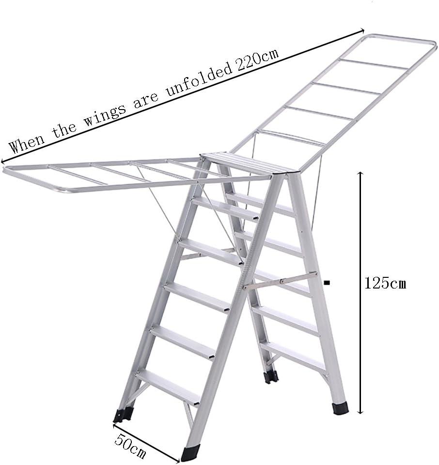 LIANGJUN Tendedero Metal Escalera Plegable Antideslizante Multifuncional, 2 Colores, 220 * 50 * 125cm (Color : La Plata): Amazon.es: Hogar