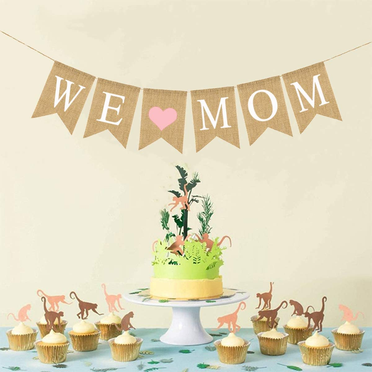 Amosfun We Love Mom Banner Mothers Day Mom Birthday Party Decorations Happy Mothers Day Bunting