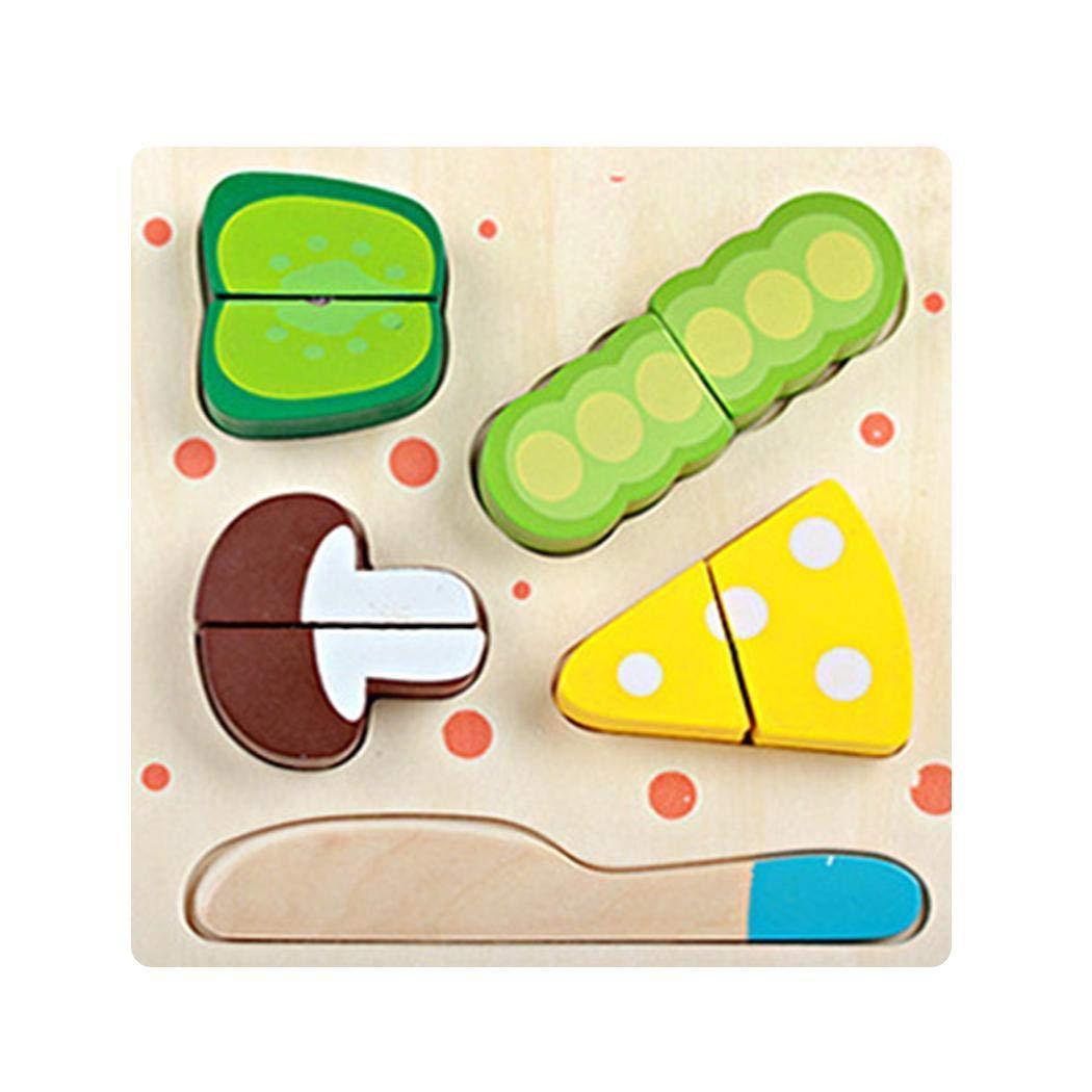 Alokie Juego de Juguete de Corte de Vegetales de Frutas, Juguete de Cocina de simulación de niños Lindo Puzzle Cocina Tablero de Madera Juguete Frutas Cortar (Madera/Cortar los Vegetales 1)