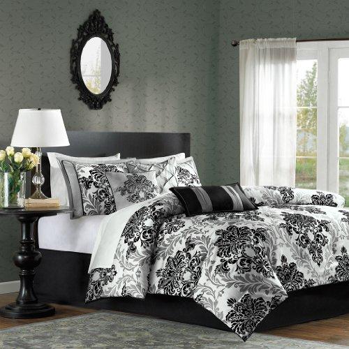Madison Park MP10-514 Bella 7 Piece Comforter Set, Black (Grey White And Bedding Damask)