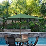 Jeco 6.5′ x 10′ Aluminum Patio Market Umbrella Tilt with Crank in Green Fabric Champagne Pole
