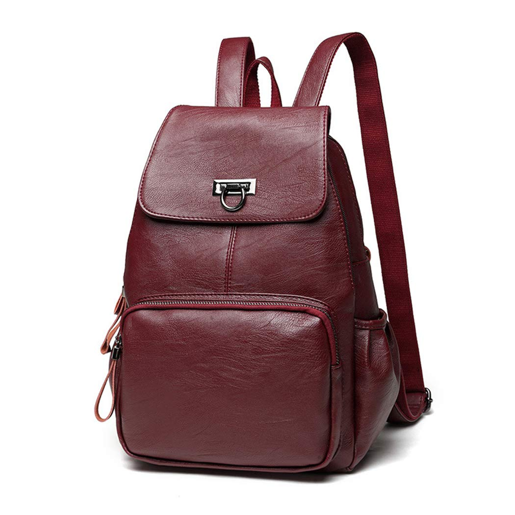 Red Backpack Women's Casual Leather Bag Fashion Portable Ladies Travel Student Backpack Schoolbag