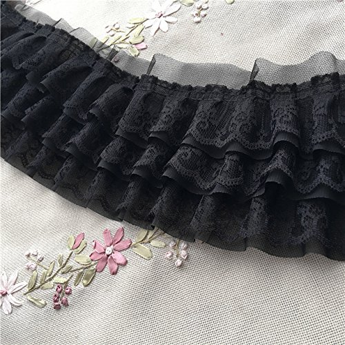 2 Yards of 11cm Width Ruffle 3-Tiered Lace Trim ()