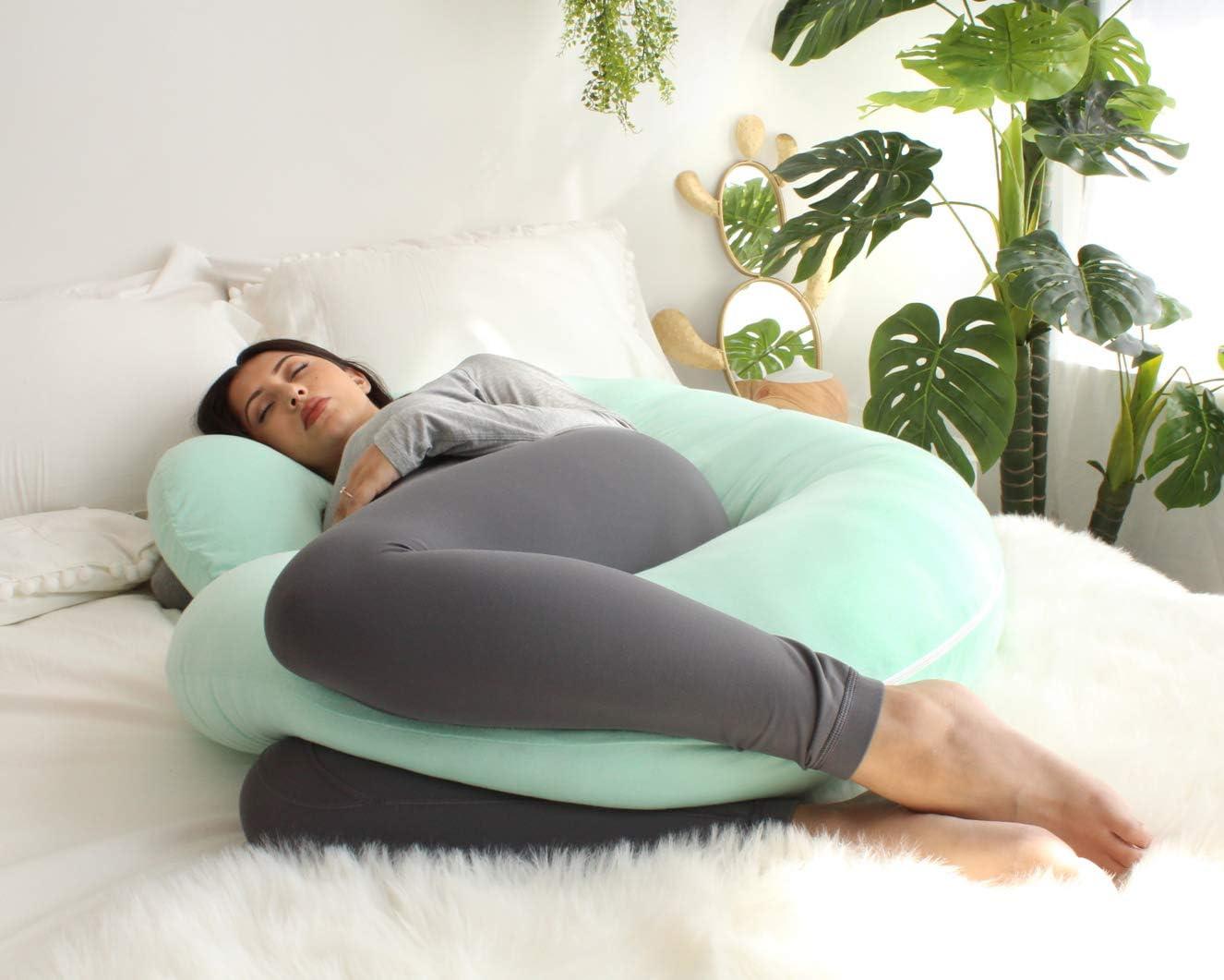 C Shaped Full Body Pillow Pharmedoc Schwangerschaftskissen Mit Jersey-Bezug C-F/örmiges Ganzk/örperkissen Pregnancy Pillow with Jersey Cover