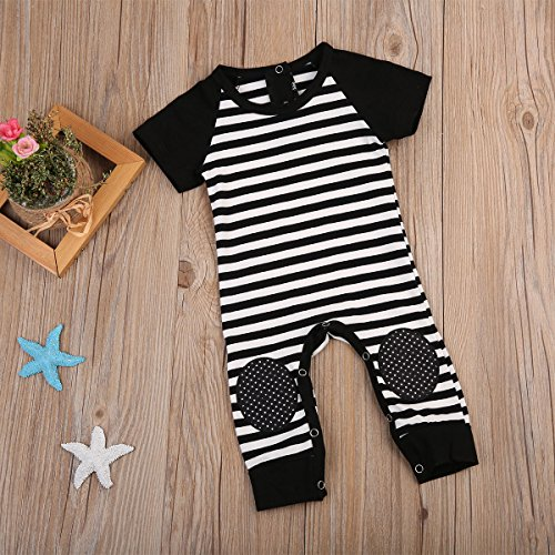 Gogoboi Toddler Baby Boy Striped One-Piece Short Sleeve Jumpsuit Coverall With Kneepad