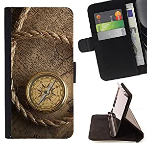 Captain Ship Navigation Compass Vintage - Painting Art Smile Face Style Design PU Leather Flip Stand Case Cover FOR Samsung Galaxy S4 IV I9500 @ The Smurfs
