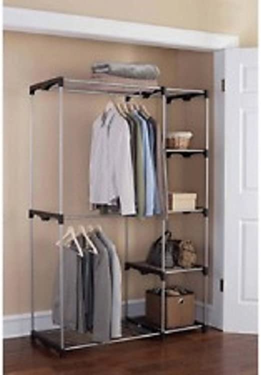 Amazon Com Mainstays Wire Shelf Closet Organizer Black Silver