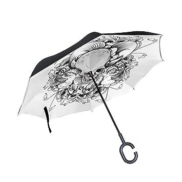 MALPLENA - Paraguas de Cabeza de Calavera, con Forma de Calavera, Apertura automática,