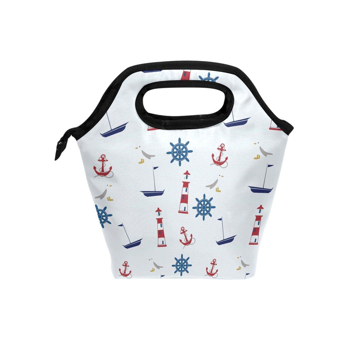 tizorax Maritim Anker Leuchtturm Isolierte Lunch-Tasche Outdoor Reise Picknick Tragetasche Lunch Handtaschen Tote f/ür Damen Herren Kinder