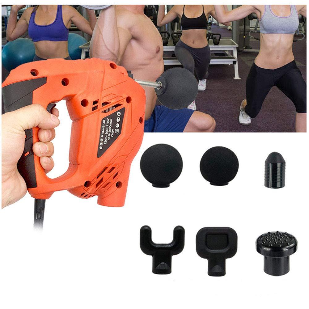6つのマッサージの頭部が付いている電気筋肉マッサージ銃、高周波振動筋肉救済全身の体の痛みの訓練運動ボディリラクゼーション痩身 B07SSXS7H2