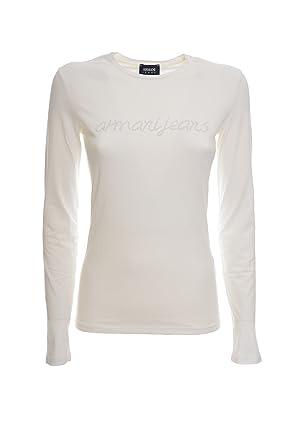 826defdf5ed52 ARMANI JEANS T-Shirt Manica Lunga Cotone Stretch Logo Ricamato Donna ...