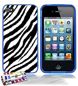 """Carcasa Flexible Ultra-Slim APPLE IPHONE 4S de exclusivo motivo [Zebra] [Azul] de MUZZANO  + 3 Pelliculas de Pantalla """"UltraClear"""" + ESTILETE y PAÑO MUZZANO REGALADOS - La Protección Antigolpes ULTIMA, ELEGANTE Y DURADERA para su APPLE IPHONE 4S"""