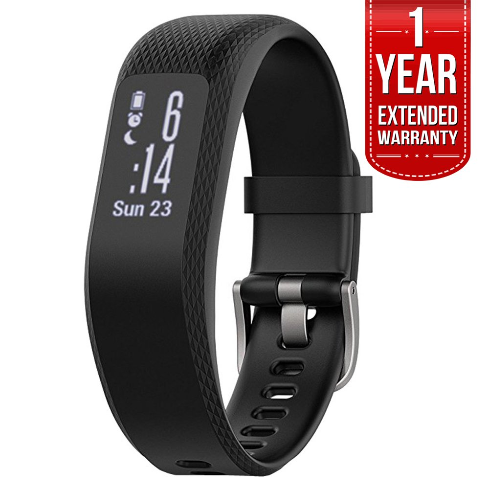 Garmin (010-01755-10) vivosmart 3 Smart Activity Tracker - Small/Medium, Black With 1 Year Extended Warranty