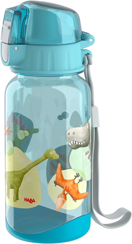 HABA 305152 - Botella dinosaurios 400 ml botella para niños con diseño de dinosaurio, con gran apertura y tapa de cierre, no gotea, plástico libre de BPA, para lavavajillas