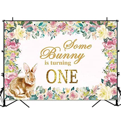 10a2caadfa3 Allenjoy 7x5ft Bunny is Turning One Floral Easter Backdrop Spring Flowers  Rabbit Kids 1st Birthday Party