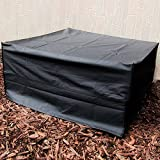 Sunnydaze Square Fire Pit Cover, Outdoor Patio 40 Inch Square, Waterproof, Black