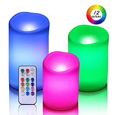 Flameless Candles Waterproof Outdoor Candles Multi Colored Led Candles Pack of 3 Pillar Candles with Remote Timer Plastic