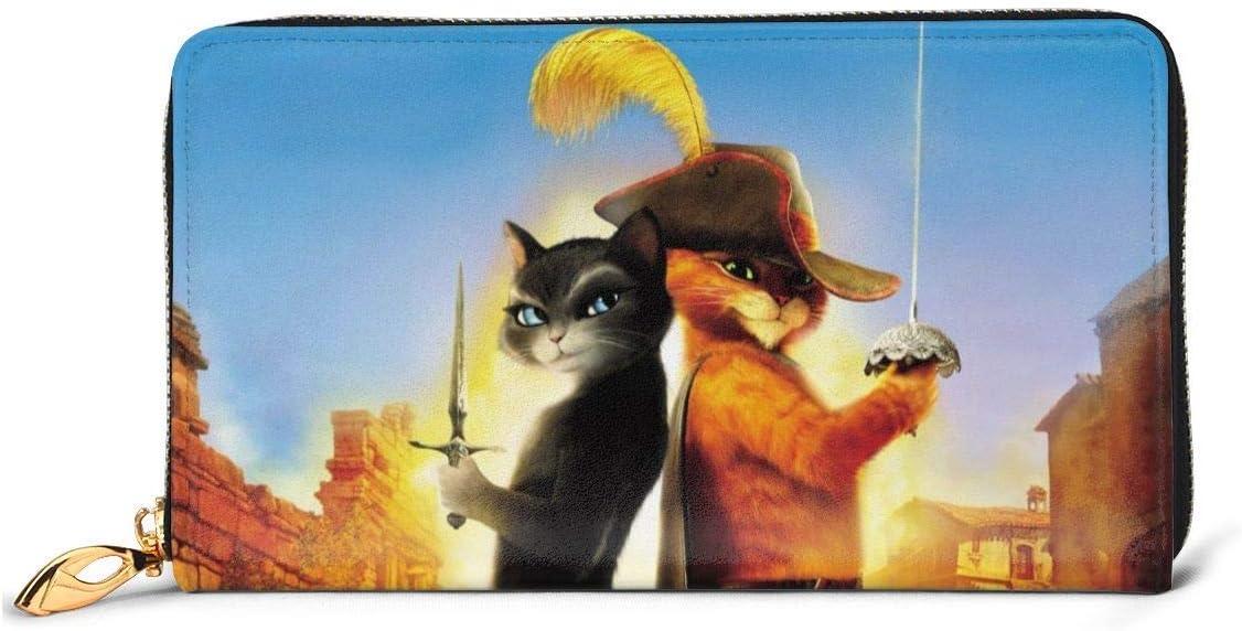 BFDX Carteras El Gato con Botas Lucha Gato Monedero Monedero RFID Cremallera Embrague de Cuero Mujer Monedero Monederos Bolsa Teléfono Tarjeta de crédito Organizador Titular Bloqueo Embrague Genuino