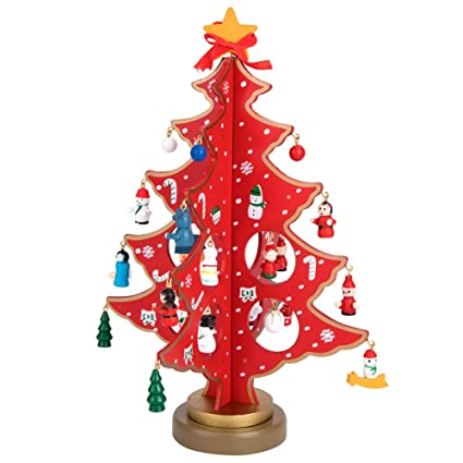 Wooden Christmas Tree With Miniature Christmas Ornaments Xmas Tabletop Decor