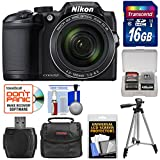 Nikon Coolpix B500 Wi-Fi Digital Camera (Black) with 16GB Card + Case + Tripod Kit (Certified Refurbished)