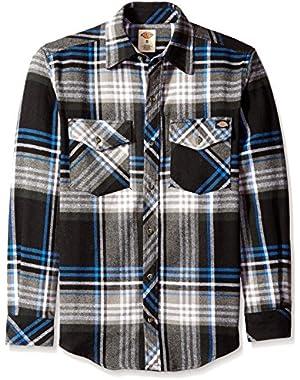 Men's Long Sleeve Brawny Flannel, Black, Small