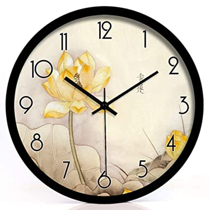 fwerq Flower of Lotus Lotus Quartz Clock Bell Wall Clock Silencer Lounge of Decoration in Tempered