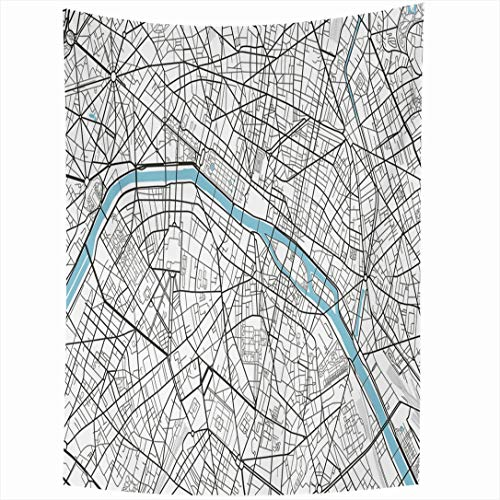 Ahawoso Tapestry 60x90 Inch Vintage Black White City Map Paris Artistic Abstract Arc Triomphe Cartography Drawing Design Line Wall Hanging Home Decor for Living Room Bedroom Dorm