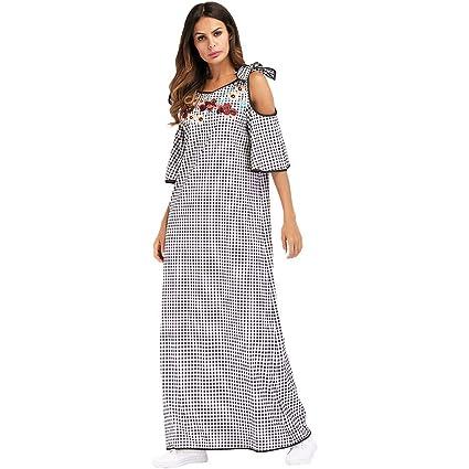 Yhjklm Elegante Musulmana Femenina Falda Larga étnico Viento Bordado Collage Vestido de túnica de Las Mujeres