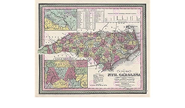 MAP ANTIQUE 1850 COWPERTHWAIT NORTH CAROLINA GOLD REPLICA POSTER PRINT PAM1702