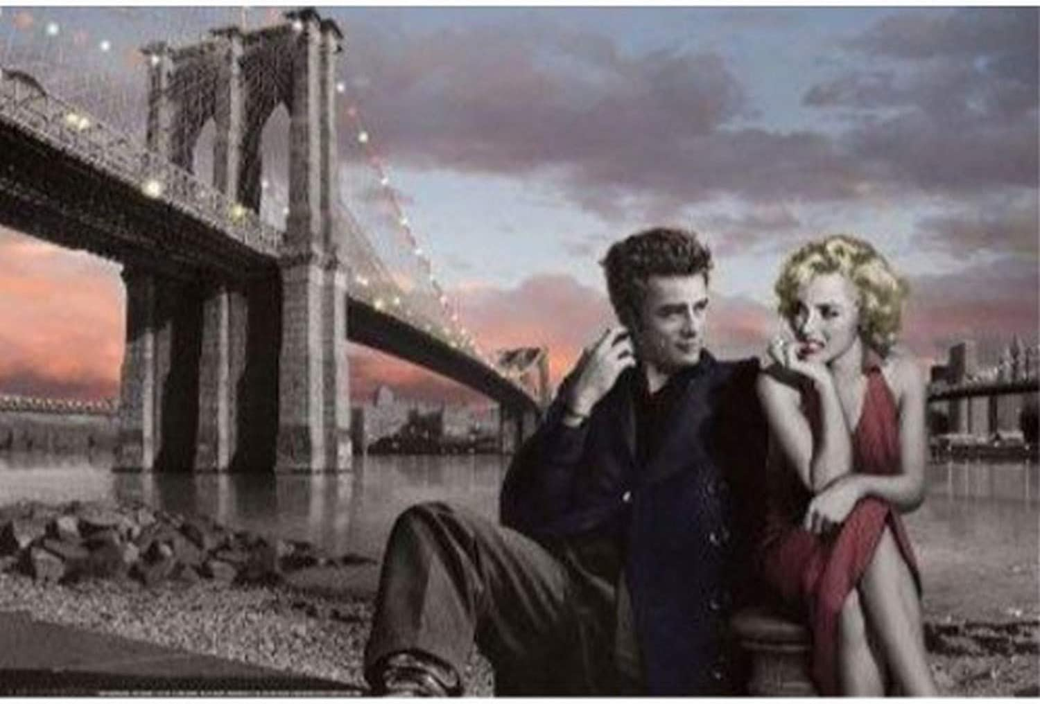 Buyartforless Brooklyn Bridge with Marilyn and Monroe James Dean by Chris Consani 36x24 Art Print Poster Wall Decor Celebrity Movie Stars Romance Red Dress and Red Lips Icons Hollywood New York City