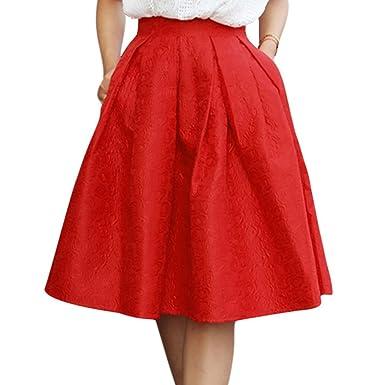 SODIAL(R) Midi falda completa de jacquard flor de mujeres rojo US ...