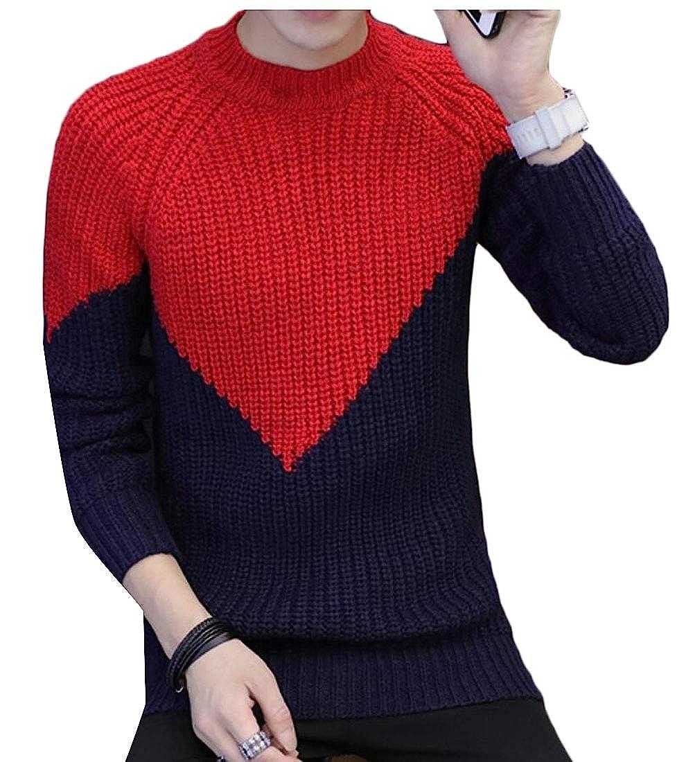 WSPLYSPJY Mens Knit Splice Basic Contrast Slim Fit Crewneck Pullover Sweater