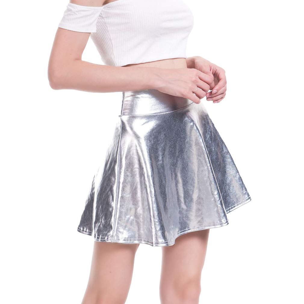 Mxssi Moda Casual para Mujer Acampanada Falda Plisada Skater Disco ...