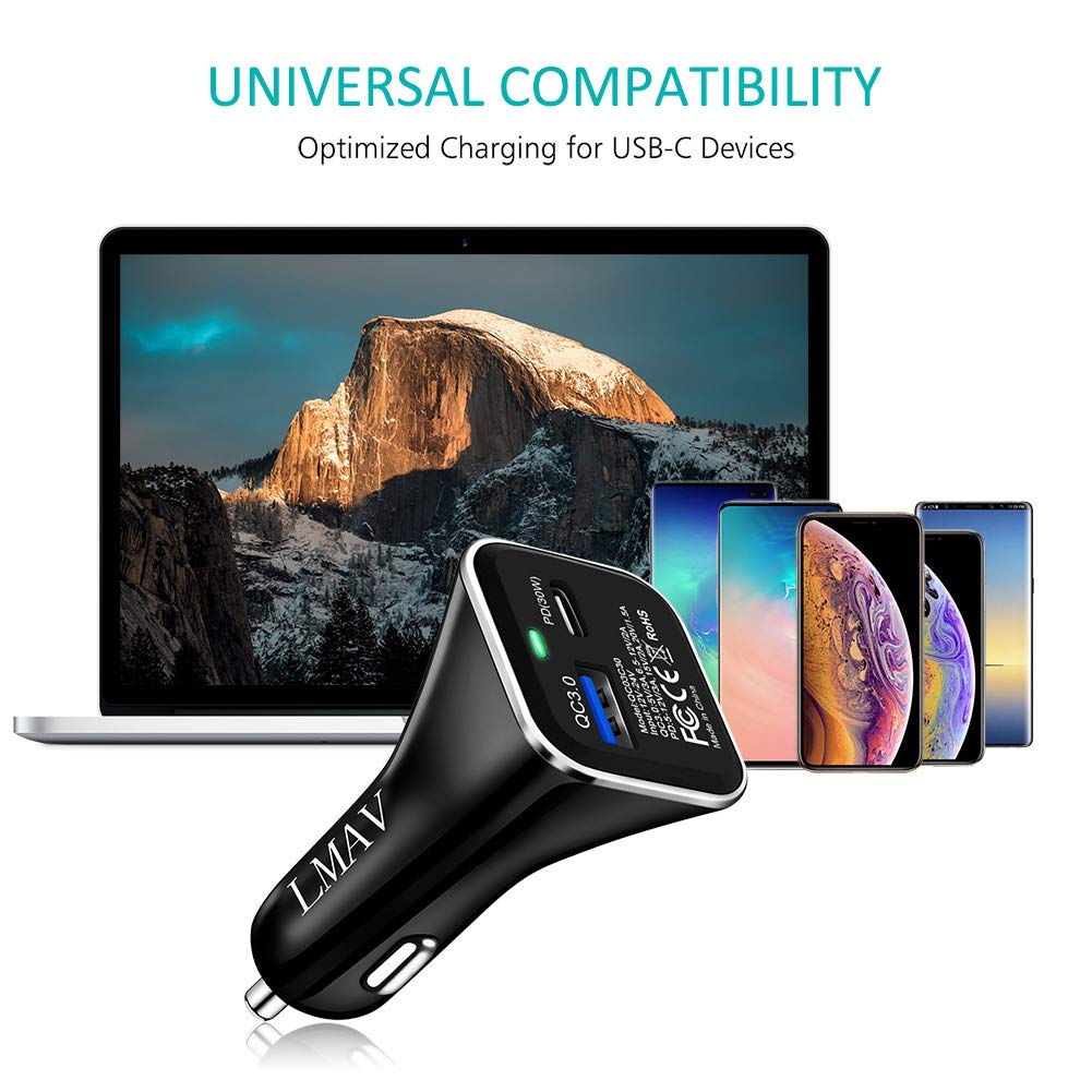 USB-C PD Car Charger 54W iPhone XS Max//XR//X//8 Quick Charge 3.0 Car Charger 24W Google Pixel 3 XL and More. Power Delivery PD Car Charger 30W Compatible with MacBook,NoteBook,iPad Galaxy S9+//Note9