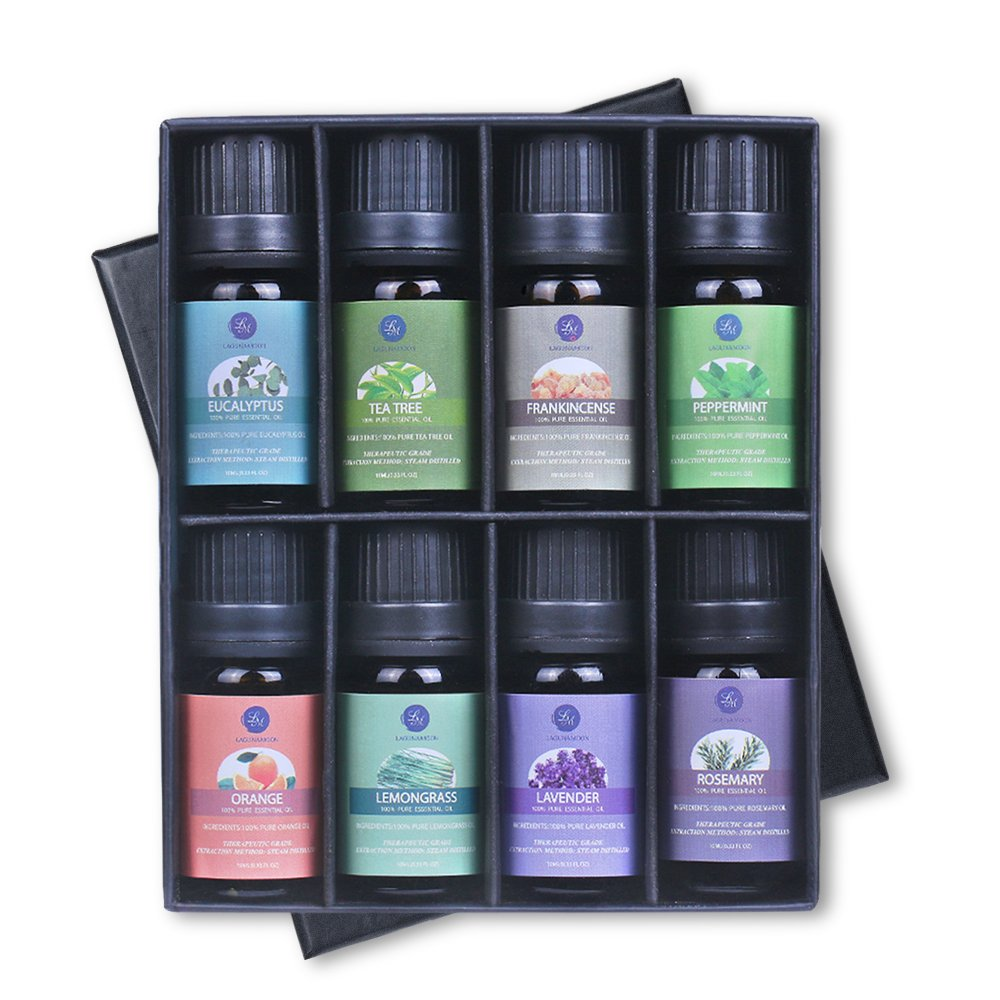 Lagunamoon Essential Oils Top 8 Gift Set Pure Essential Oils Gift Set for Diffuser, Humidifier, Massage, Aromatherapy, Skin & Hair Care