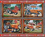Allis Chalmers Tractor Fabric, Pillow Panel, Gray