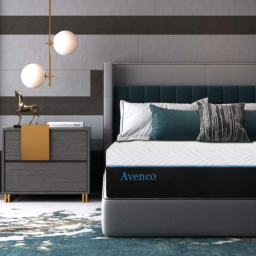 Queen Memory Foam Mattress, Avenco 10 Inch Queen Size Mattress in a Box, Premium Bed Mattress Queen with CertiPUR-US Certified Foam for Supportive, Pressure Relief & Cooler Sleeping, 10 Years Warranty by Avenco