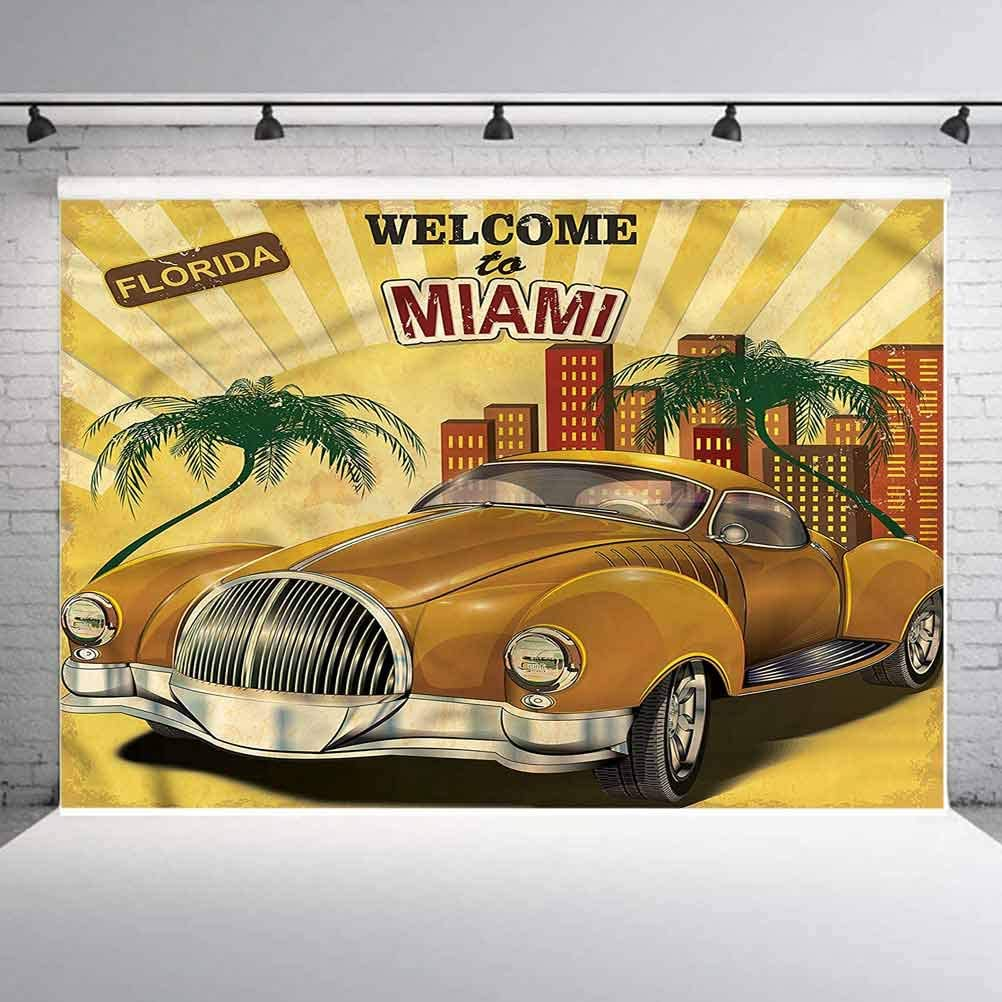 8x8FT Vinyl Photo Backdrops,Vintage,Palm Trees and Cars Background for Graduation Prom Dance Decor Photo Booth Studio Prop Banner
