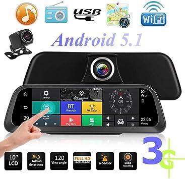 "3G 10/"" FHD Dash Camera Car DVR Mirror GPS Monitor Rear View Cam GPS Navigation"