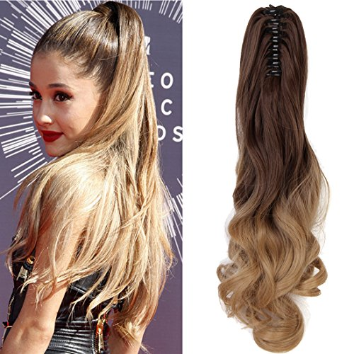 "Price comparison product image Neverland Beauty 20""(50cm) Ombre Two Tone Long Big Wavy Claw Curly Ponytail Clip in Hair Extensions 8#/25#"